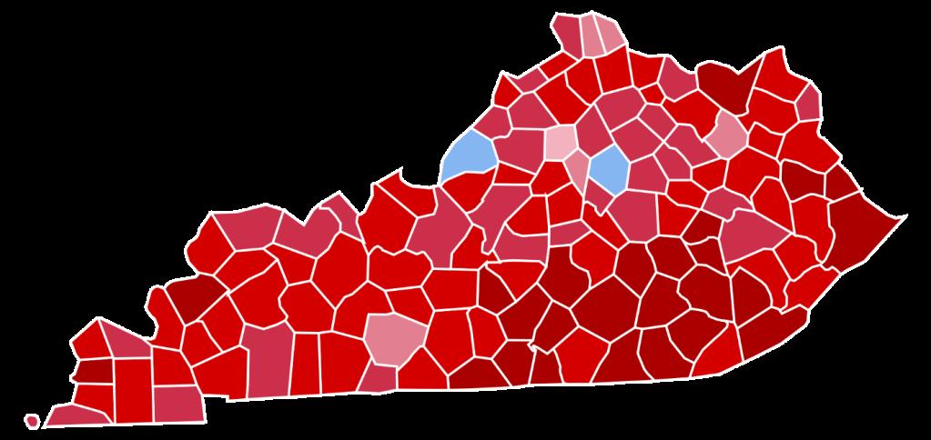 Kaartje Kentucky met uitslag presidentsverkiezingen 2016